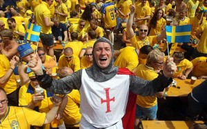 England fan with Swedes