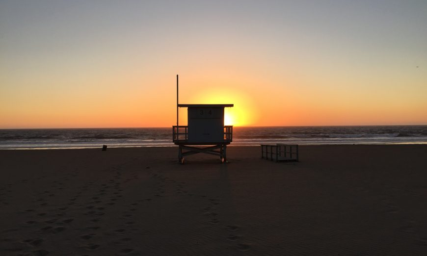Lifeguard station in Los Angeles bay 34th Street