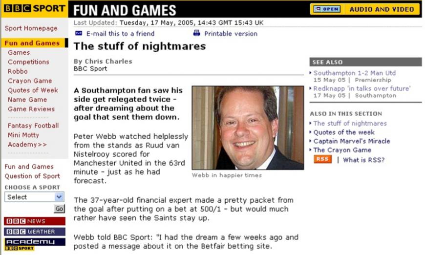 Peter Webb on the BBC webstie