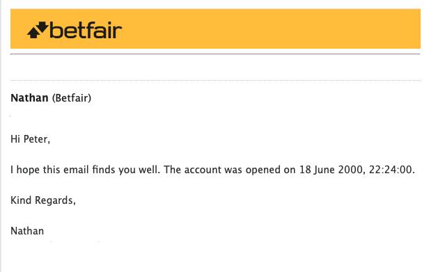 Betfair account confirmation