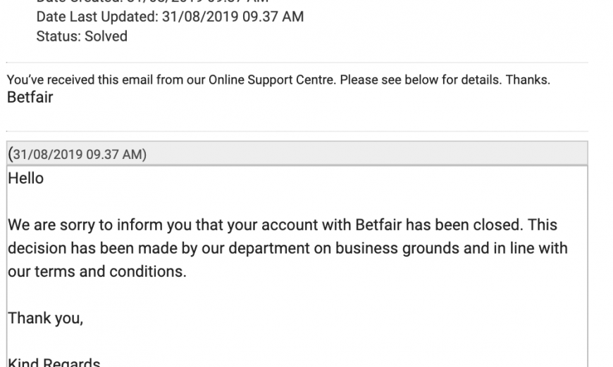 Betting Account Closed